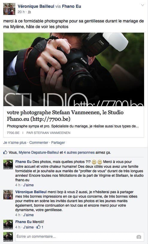 avis des clients studio Fhano.eu - https://www.7700.be