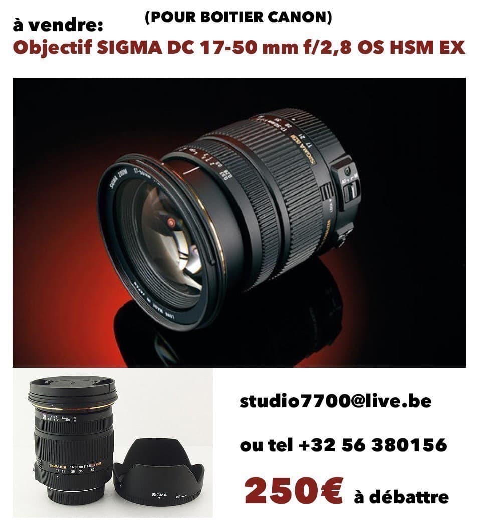 Objectif SIGMA 17-50 mm f 2.8 DC OS HSM EX monture CANON
