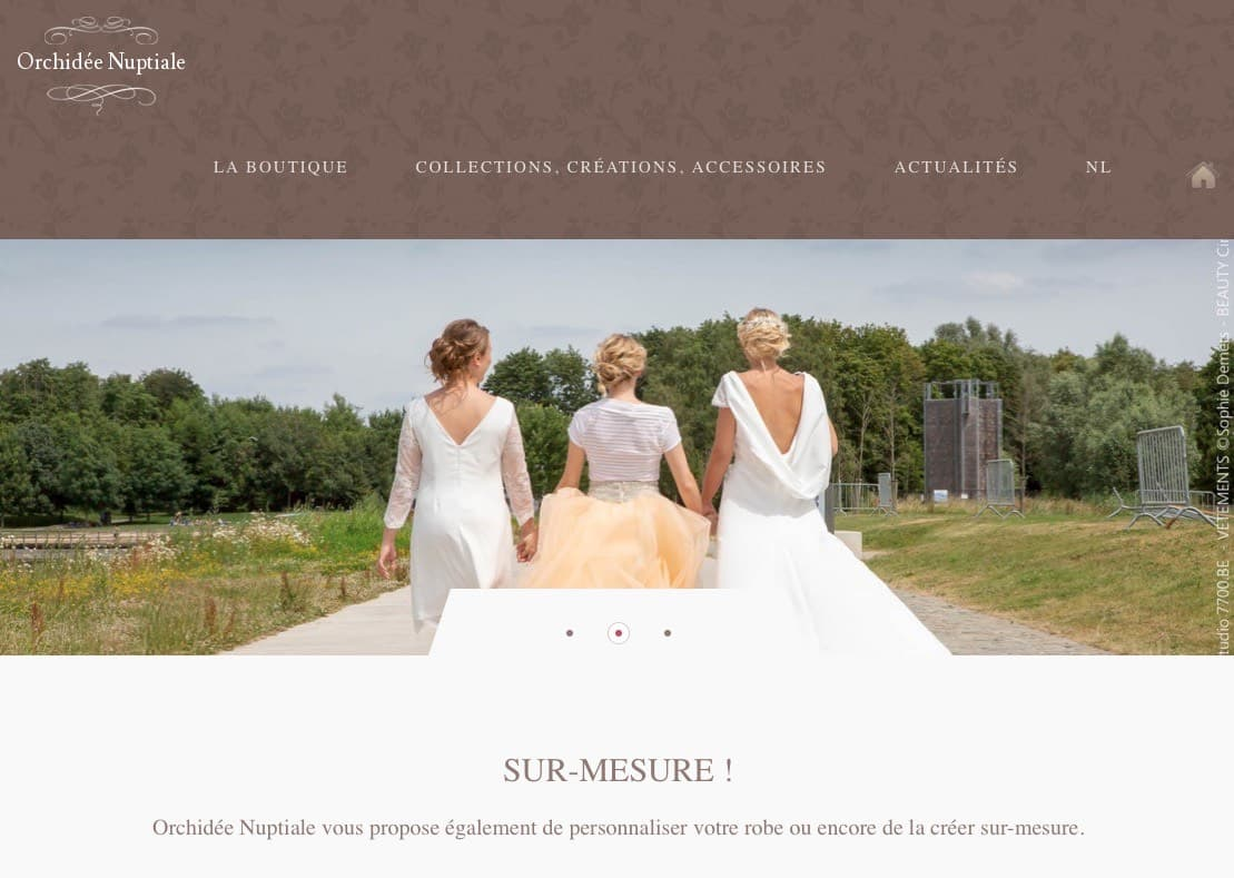 Magasin de robes de mariée et de cocktail Orchidée Nuptiale à Mouscron.