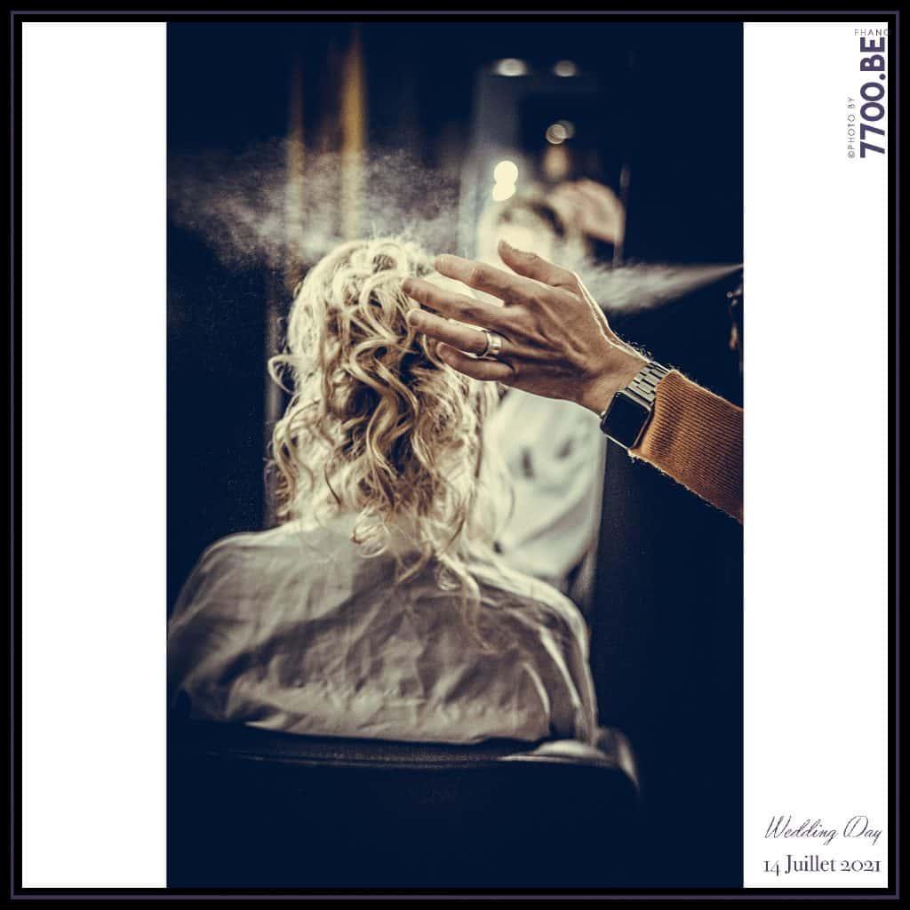 Les préparatifs de la mariée au salon de coiffure Mayeux de Valenciennes- Quelques photos © faites par le studio 7700BE et votre photographe Fhano lors du mariage de GERALDINE ET SEBASTIEN