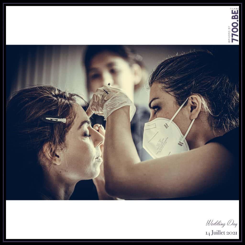 Les préparatifs de la mariée avec la maquilleuse Amylie de chez Beauty By Amylie - Quelques photos © faites par le studio 7700BE et votre photographe Fhano lors du mariage de GERALDINE ET SEBASTIEN