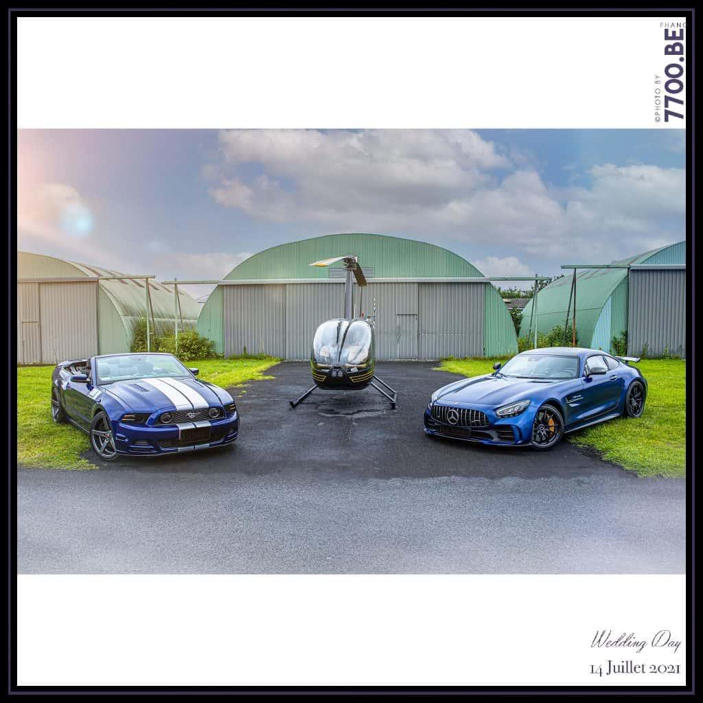 Véhicules de prestiges Mercedes Amg Gtr, Mustang, Hélicoptère - Quelques photos © faites par le studio 7700BE et votre photographe Fhano lors du mariage de GERALDINE ET SEBASTIEN