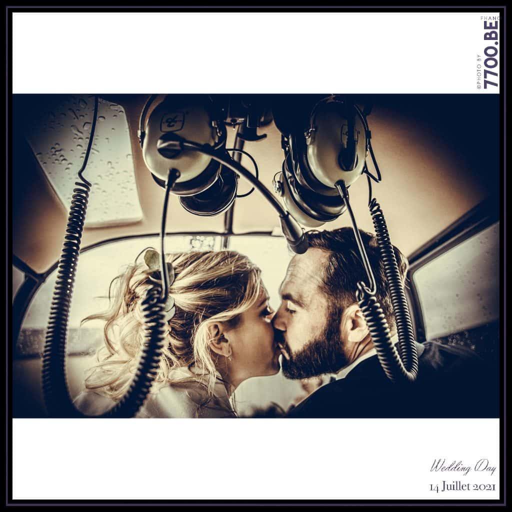 Arrivée des mariés en Hélicoptère - Quelques photos © faites par le studio 7700BE et votre photographe Fhano lors du mariage de GERALDINE ET SEBASTIEN